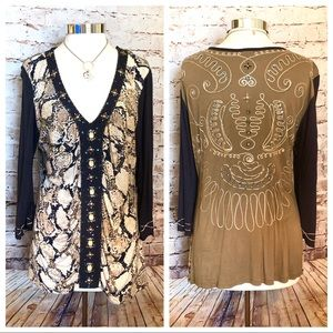 Animal print multi media tunic
